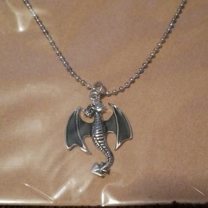 Jewelry - Black winged dragon necklace on Sterling chain